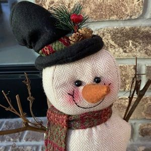 🆕 Farmhouse Rustic Country Striped Winter Christmas Holiday Snowman